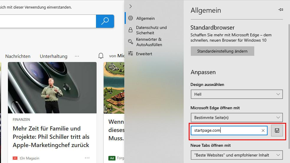 im Microsoft Edge können Sie in den allgemeinen Einstellungen Startpage als Startseite festlegen.
