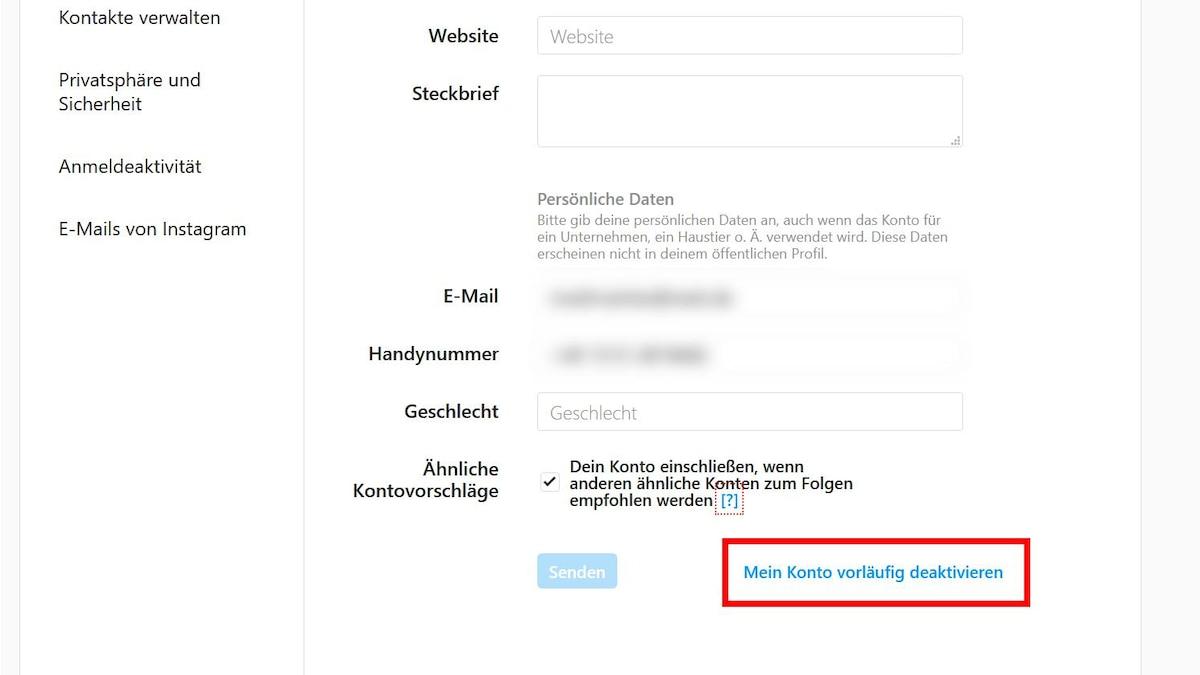 Hier finden Sie dann den Link, über den Sie Ihr Konto deaktivieren können.
