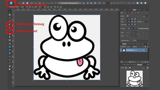 Um ein Bild in Affinity Designer zu vektorisieren, öffnen Sie zunächst Ihr Bild.