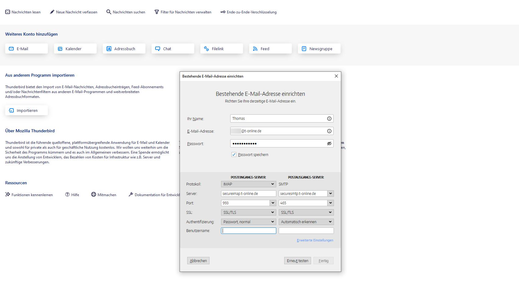 IMAP für T-Online in Thunderbird einrichten