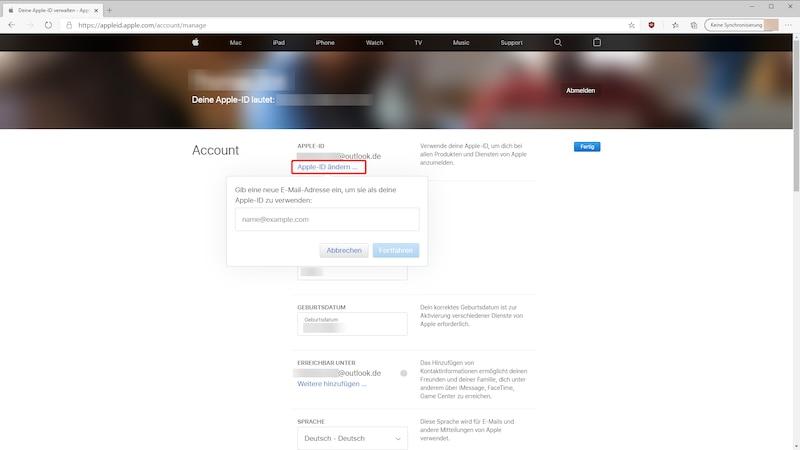 Apple ID im Browser ändern.
