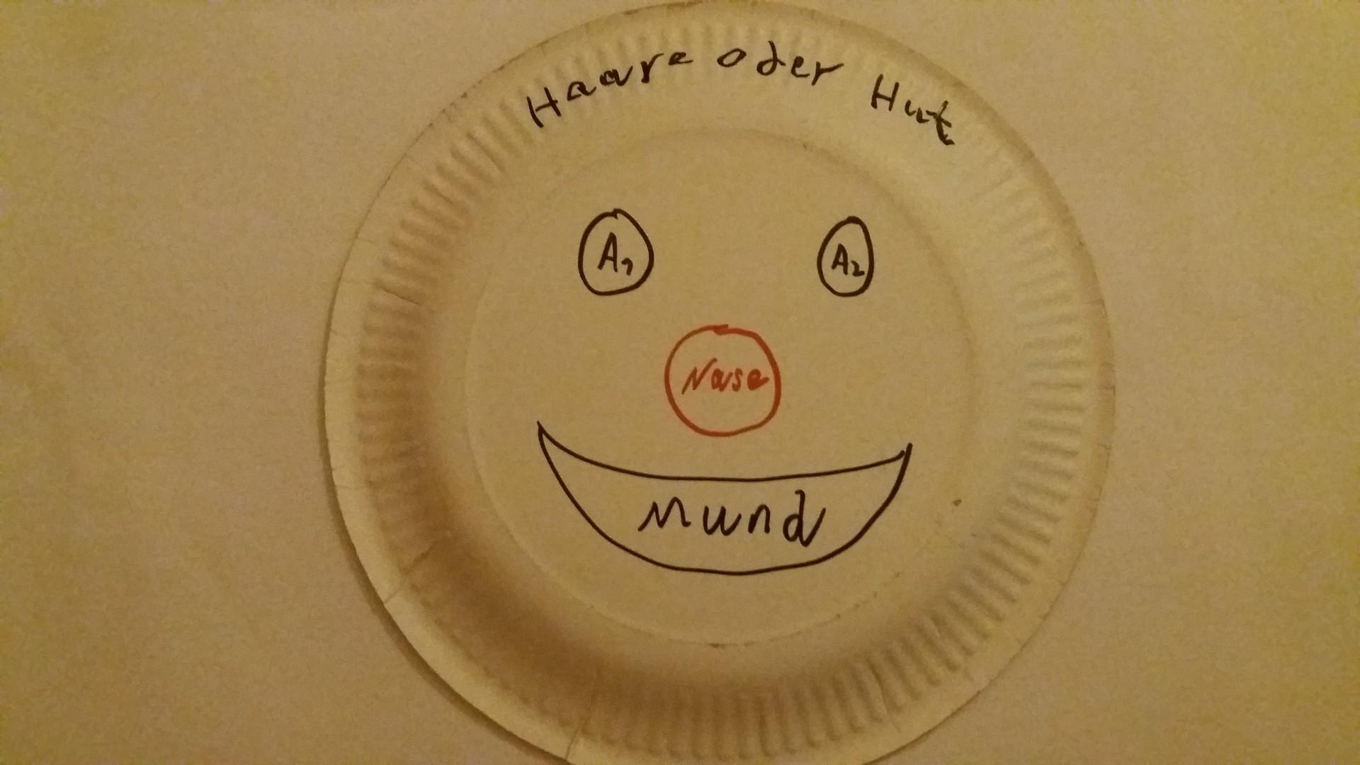 So können Sie ein Clownsgesicht auf einen Pappteller zeichnen.