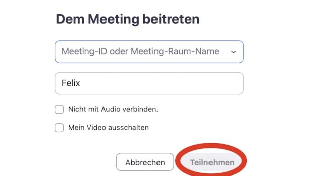 Geben Sie in die obere Zeile Ihre Meeting-ID von Zoom ein