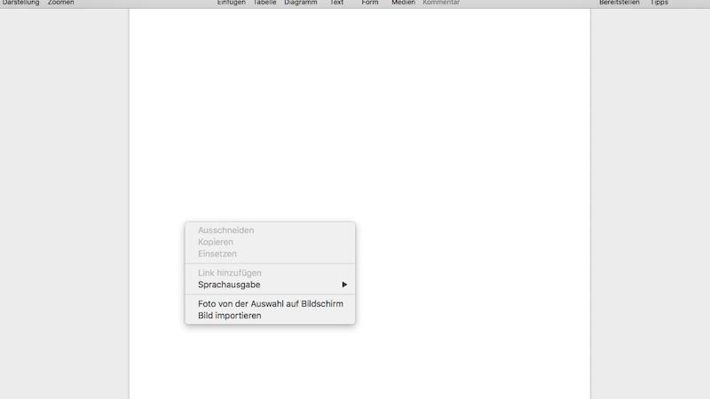 Screenshot über Kontextmenü in Pages