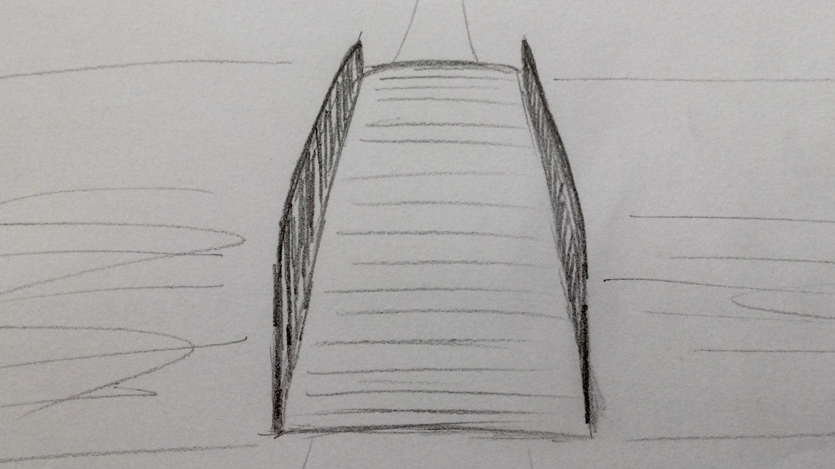 Horizontale Linien deuten die Holzbretter an.