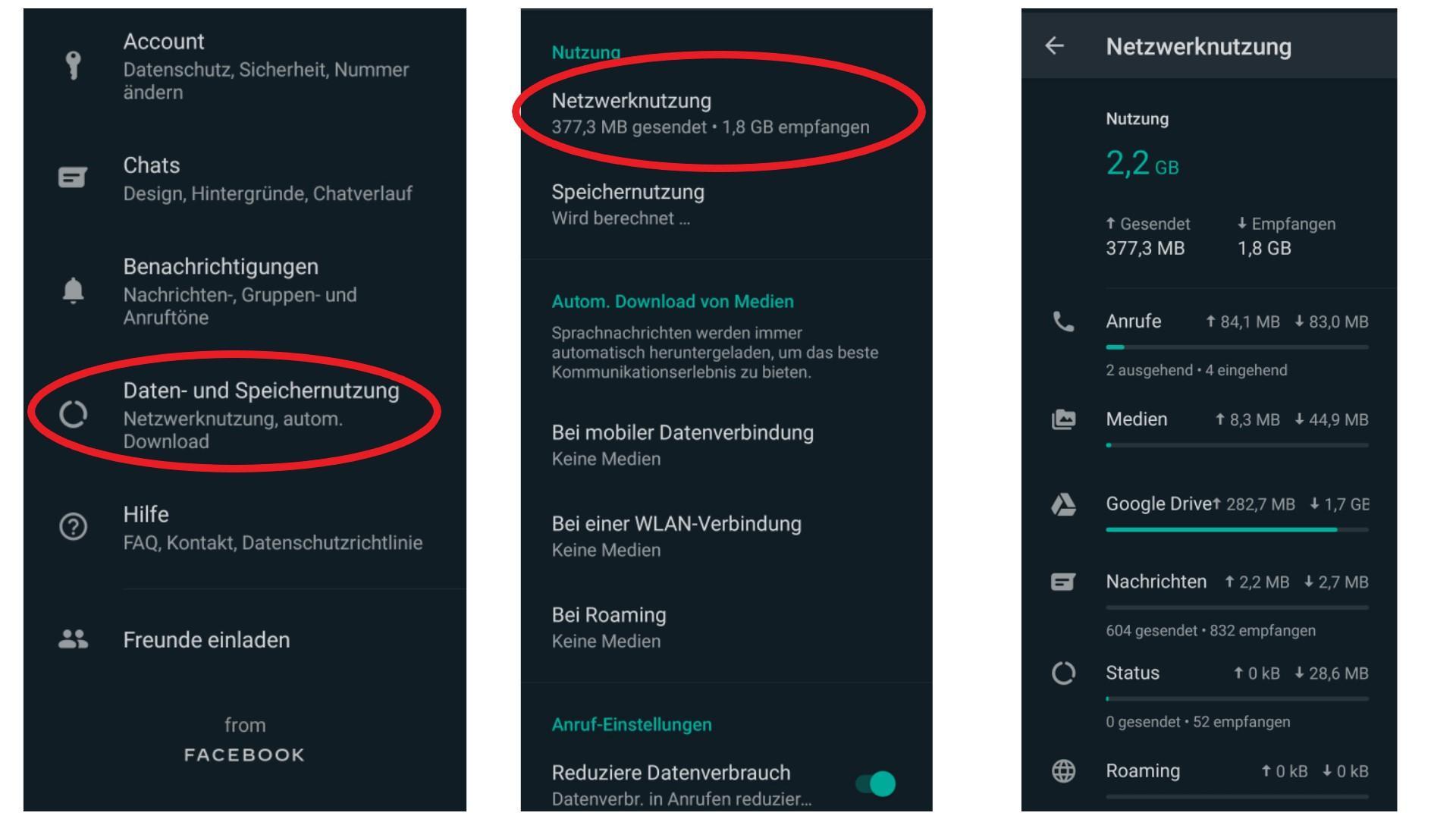 Ihre WhatsApp Statistiken können Sie in den Einstellungen der App anzeigen lassen.