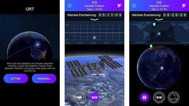 Mit Apps wie Satellite Tracker können Sie ISS Überflüge verfolgen und den Livestream sehen.