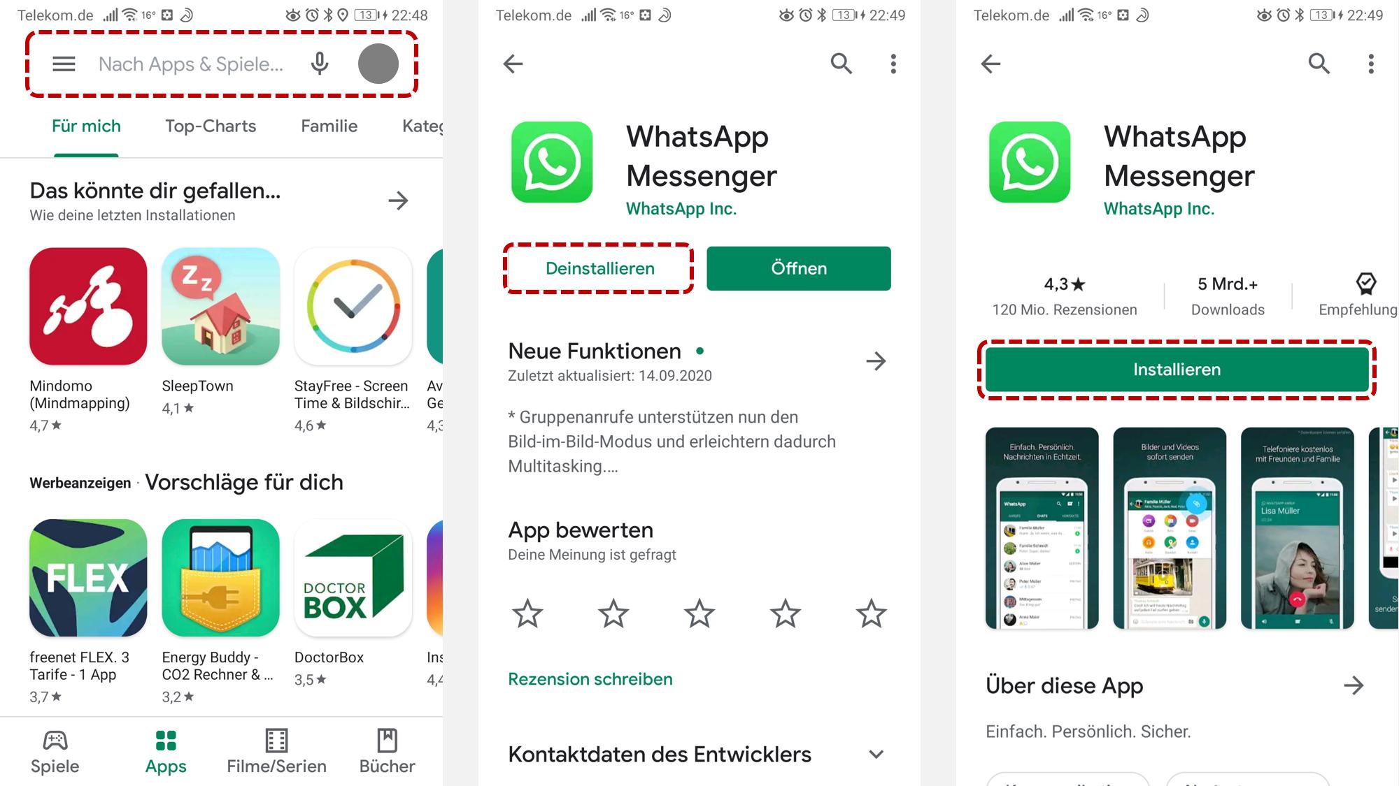 WhatsApp neu installieren auf Ihrem Android Smartphone
