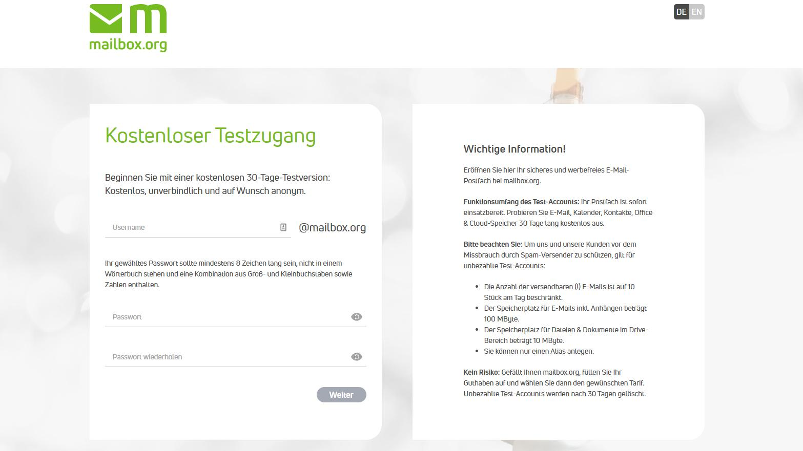 Mailbox können Sie 30 Tage lang eingeschränkt kostenlos testen.