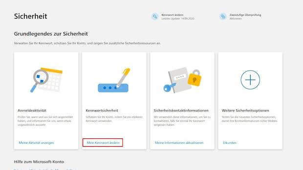 Um Ihr Hotmail PAsswort zu ändern, rufen Sie die Microsoft-Kontosicherheit auf und klicken dann auf