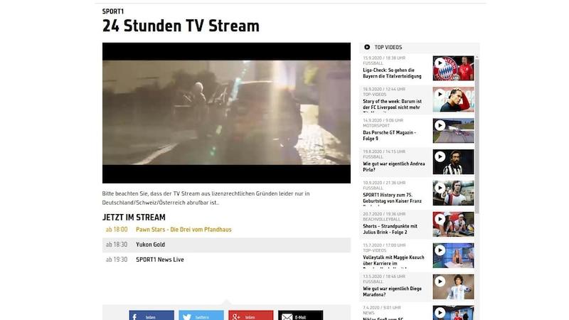 Auch über den Browser können Sie den TV-Stream von Sport 1 verfolgen.