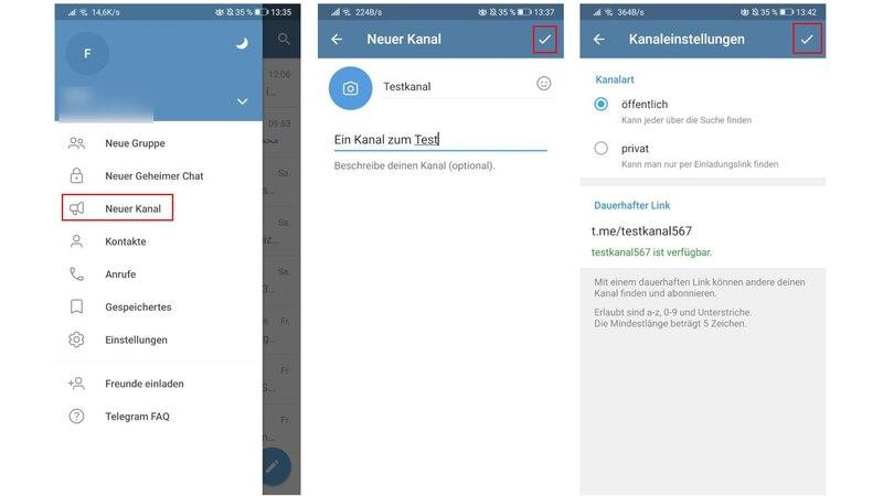Wenn Sie einen Telegram Kanal erstellen wollen, öffnen Sie zuerst das Menü und klicken Sie dann auf