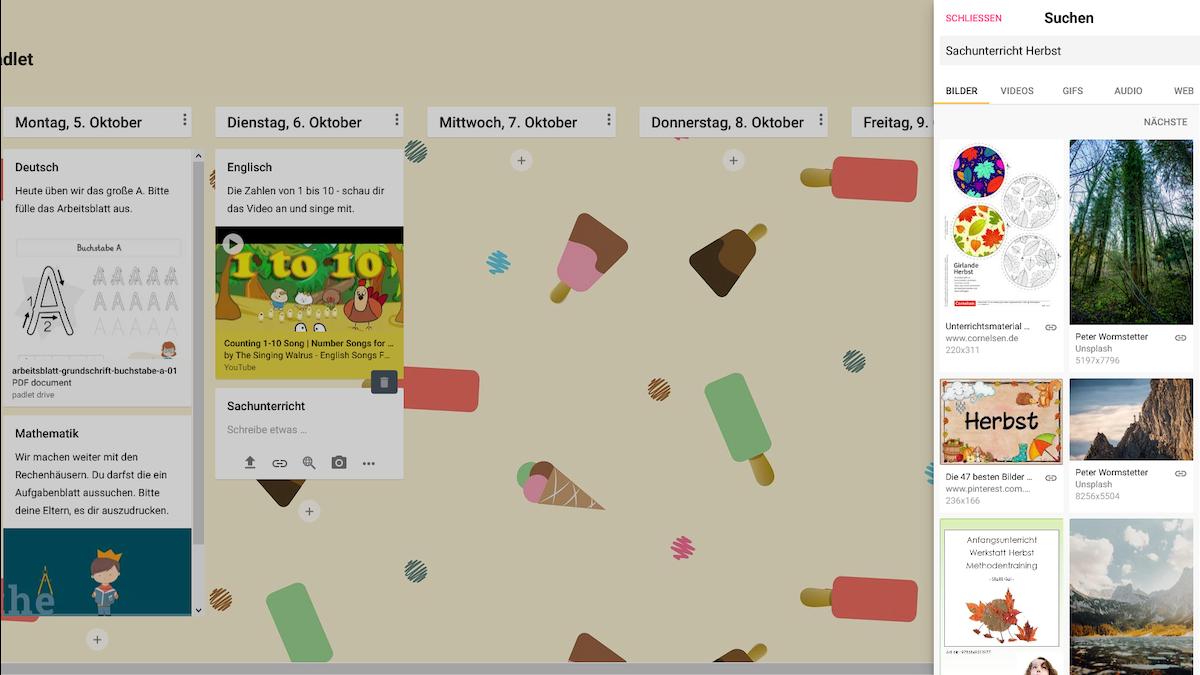Sie können auch eine google-Suche direkt im Padlet machen und die betreffende Datei direkt hinzufügen.
