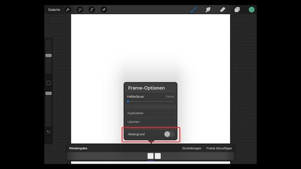 Um die Ebene als Hintergrund zu aktivieren, tippen Sie leicht auf den Frame in der Animationsleiste