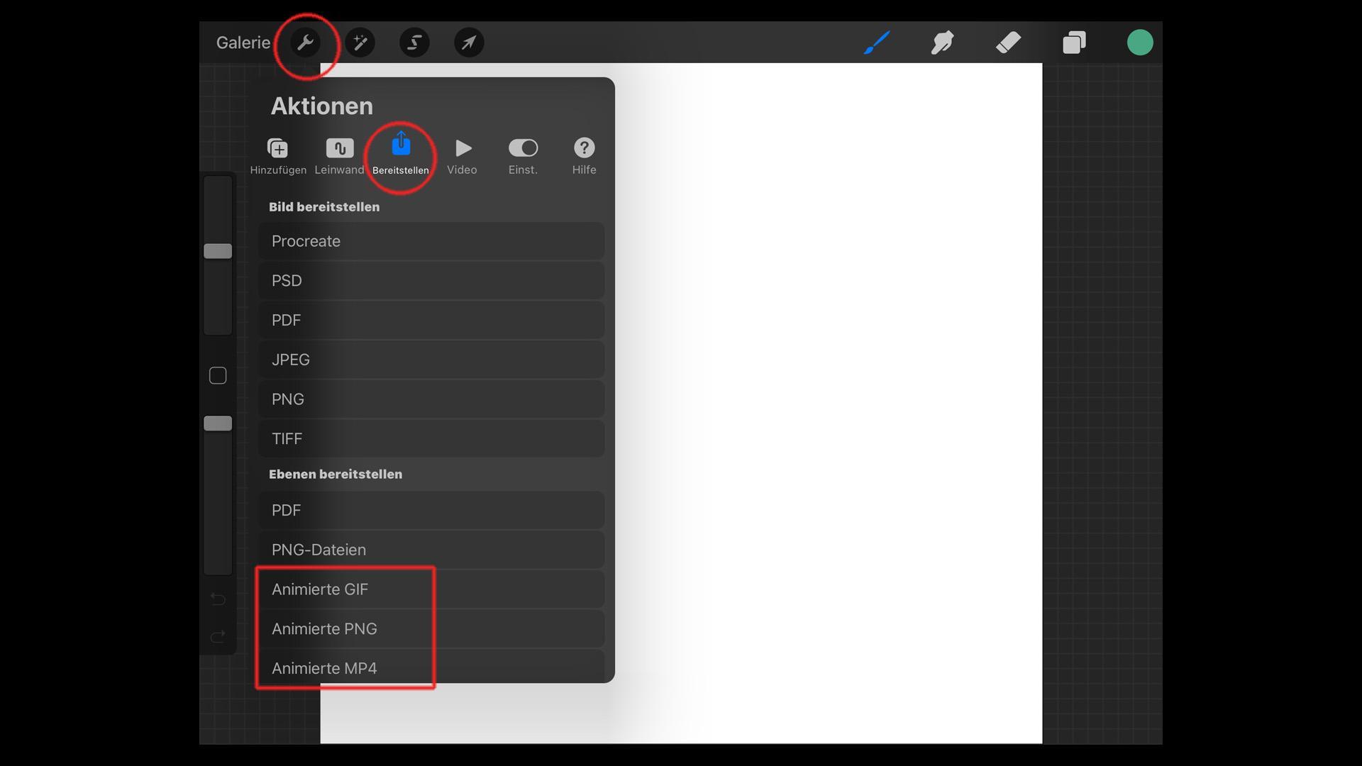 Procreate Animationen lassen sich in unterschiedliche Formate exportieren.
