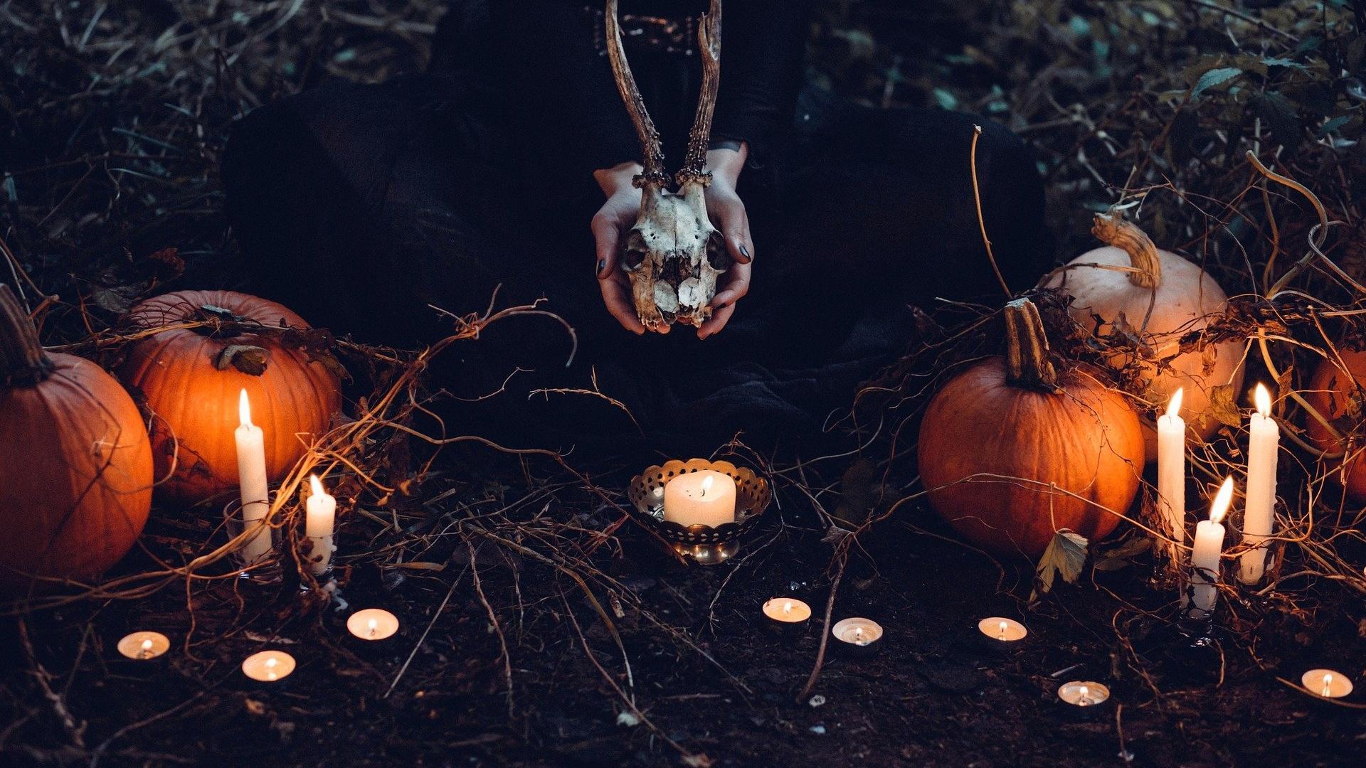 Dekorierter Garten zu Halloween