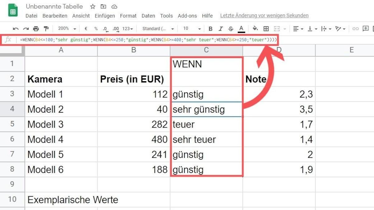 Die verschachtelte WENN/DANN-Funktion in Google Tabellen.
