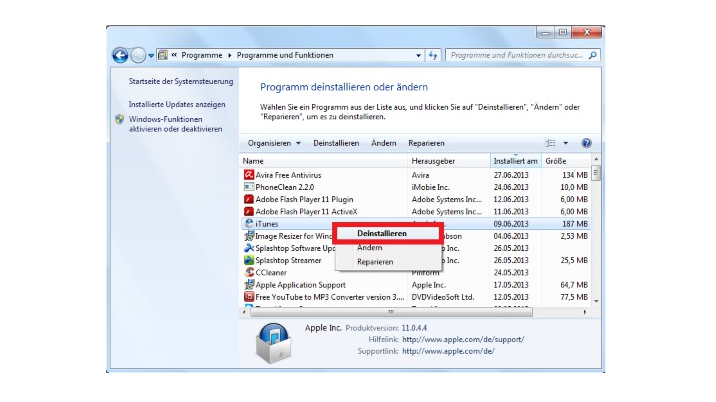 Windows 7 und Vista: Programme deinstallieren