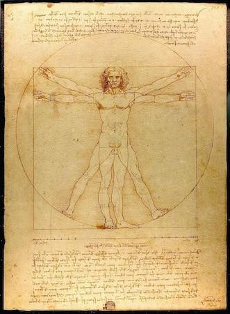 Die Zeichnung von Leonardo Da Vinci gehört zur Heiligen Geometrie, da der Mensch sowohl ein Pentagram als auch Quadrat und einen Kreis bildet.
