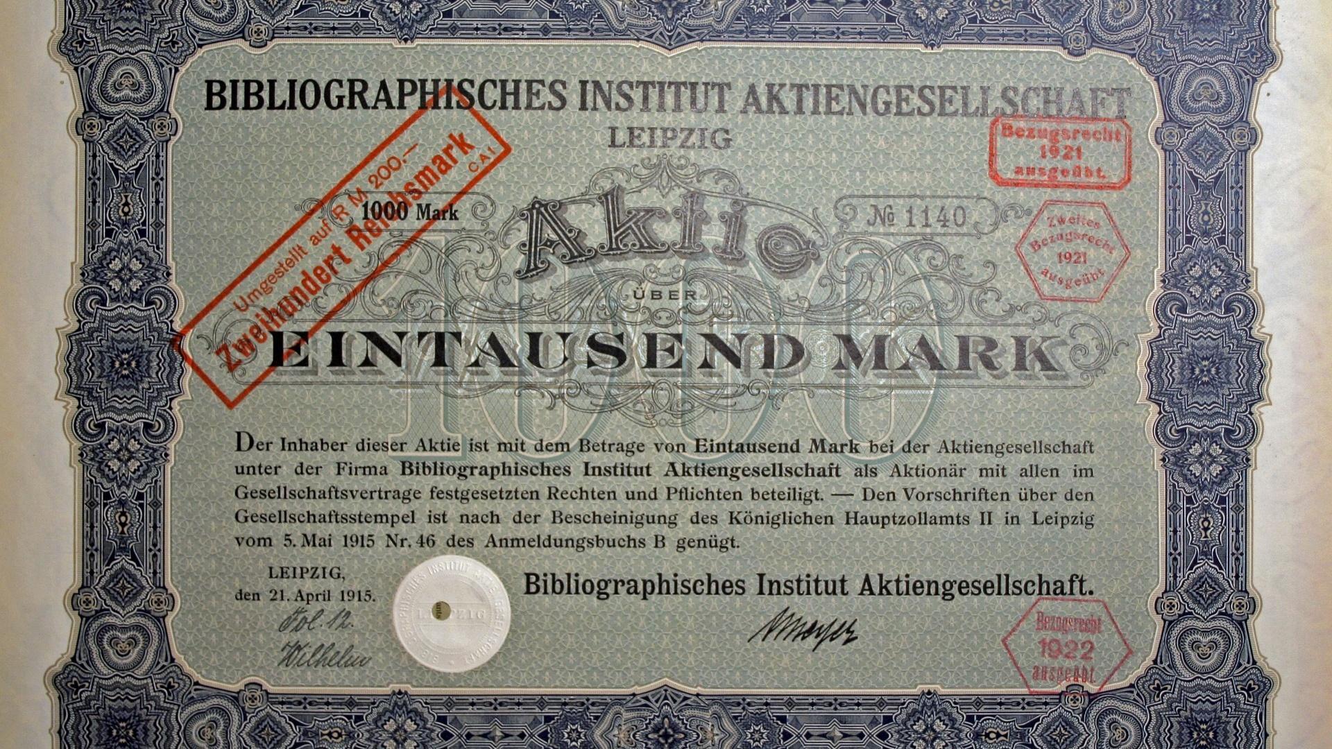 Eigentlich besteht eine Aktie aus einer Urkunde - dem Mantel - und einem Bogen, der auch Kupons enthält.