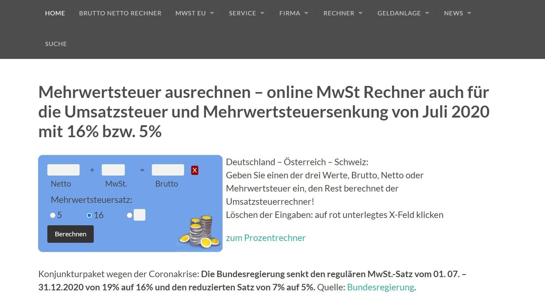 Mehrwertsteuerrechner.de ist besonders leicht zu bedienen.