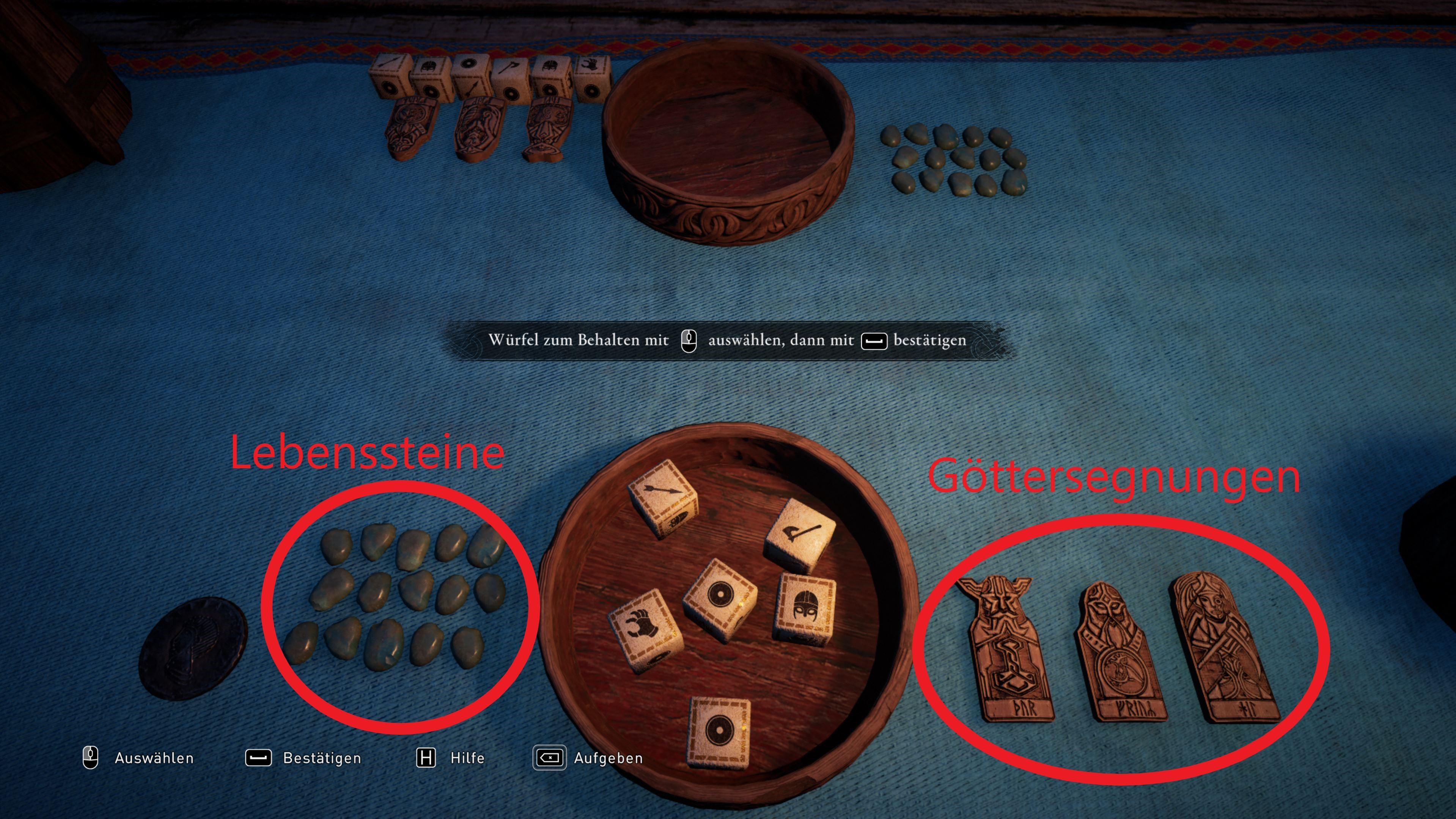 Örlög ist ein Würfelspiel in Assassins Creed Valhalla, bei dem neben Würfelglück auch Strategie gefordert ist