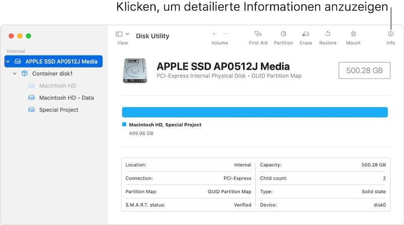 Mit dem Festplattendienstprogramm von macOS können Sie eine SD-Karte oder einen USB-Stick formatieren.