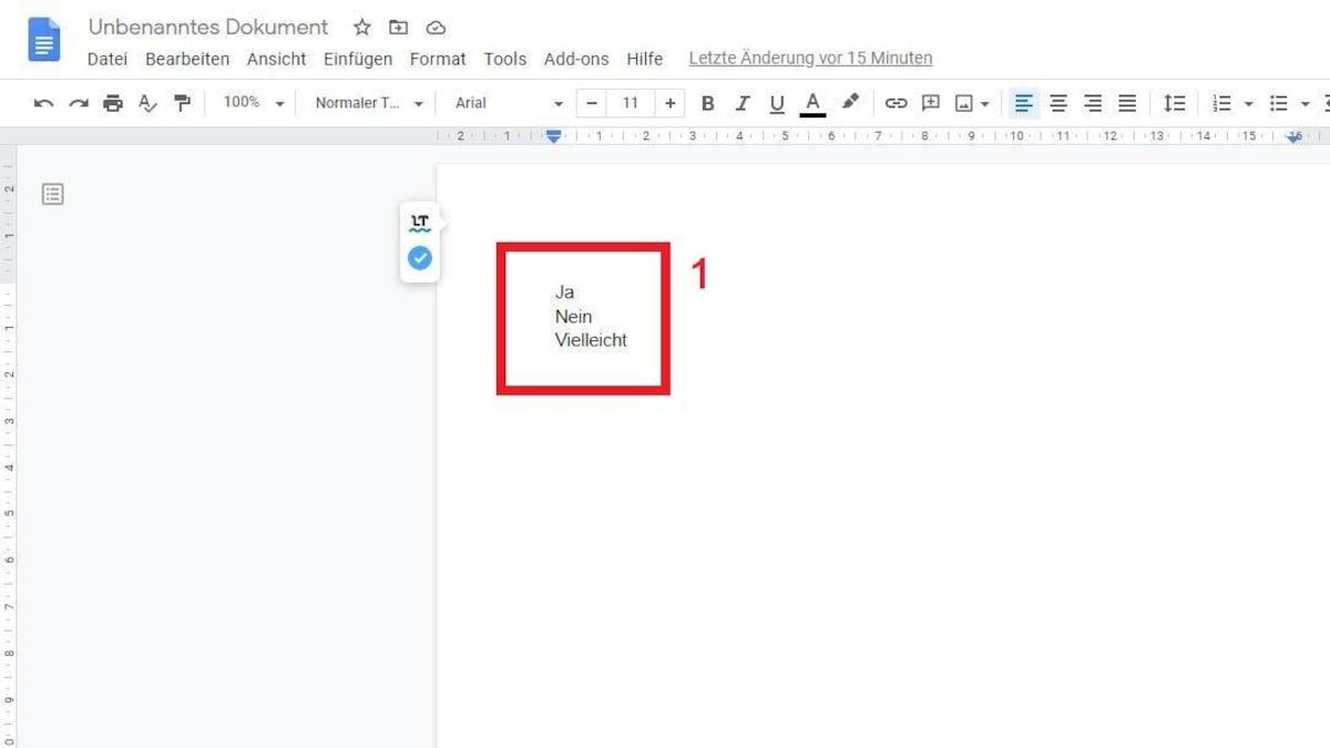 Google Docs: Checkbox einfügen - Notieren Sie die Auswahlmöglichkeiten