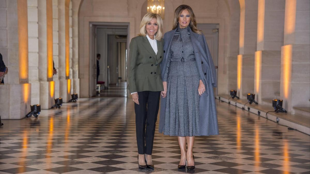 1,80 Meter plus Stöckelschuhe: Wie groß Melania ist, zeigt sich auf einem Bild neben Brigitte Macron.