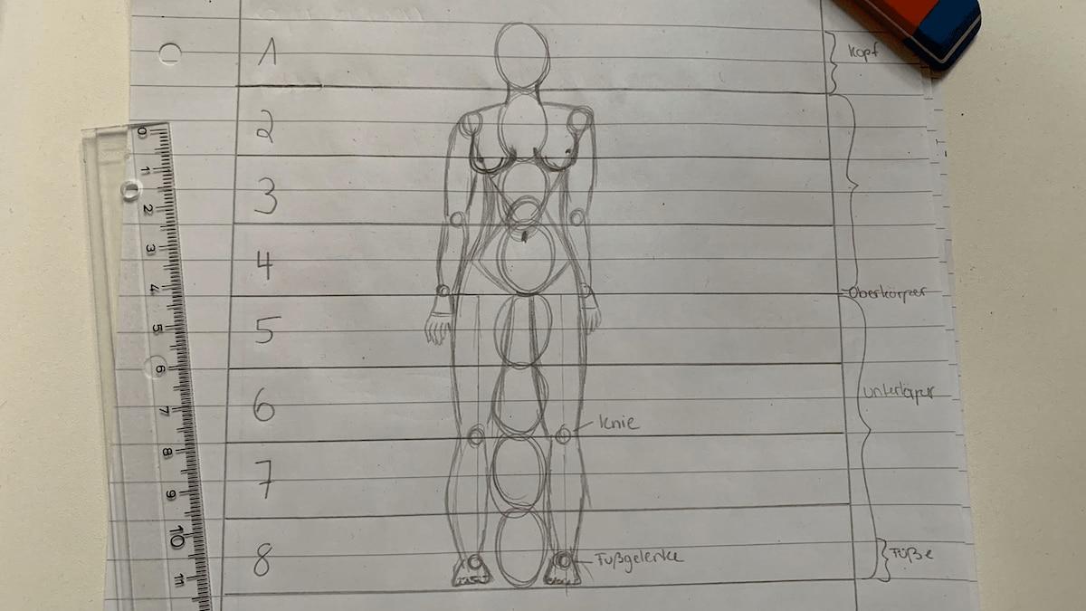 Die Gelenke des Menschen werden eingezeichnet und miteinander verbunden.