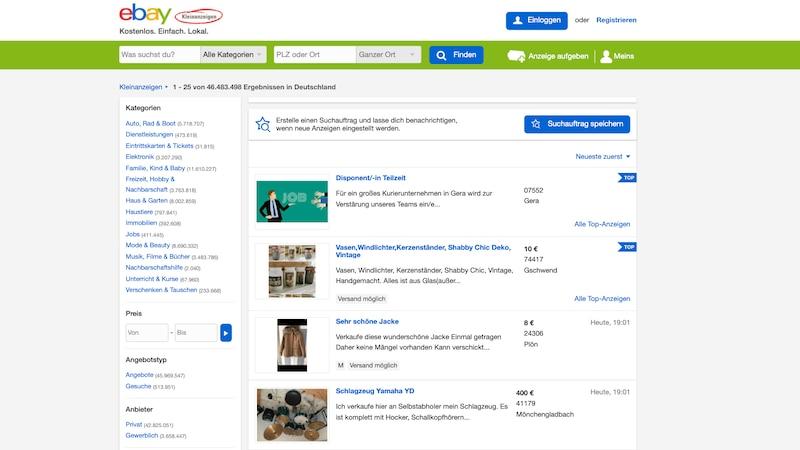 Screenshot der Webseite eBay Kleinanzeigen