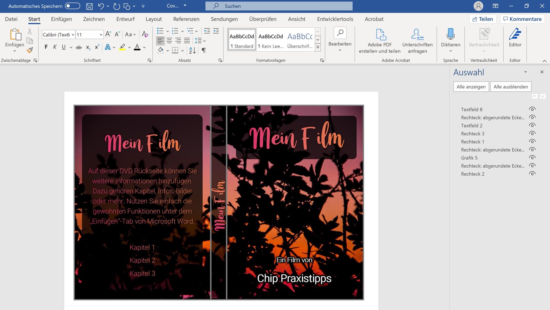 Mit Microsoft Word können Sie ein DVD-Cover erstellen.