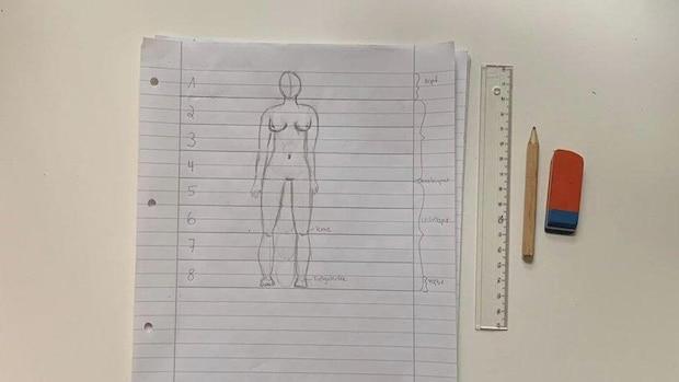 Die Zeichnung des menschlichen Körpers ist nun fertig.