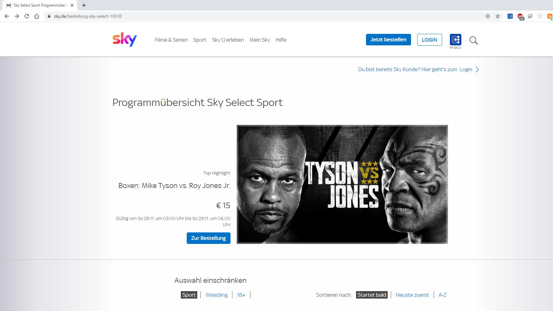 Zugang zu Sport-Events bei Sky Select kaufen