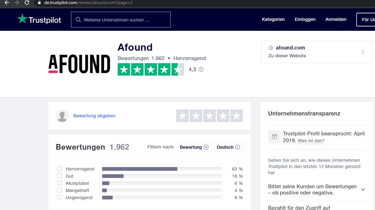 Insgesamt bewerten die Kunden ihre Kauferfahrungen bei Afound sehr gut.