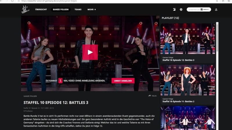 Auf der Homepage der Show können Sie ganze Folgen von