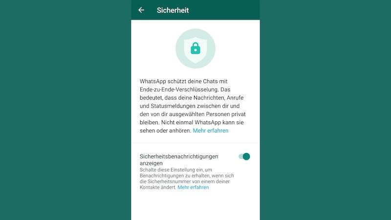 Hier können Sie die Whats-App Sicherheitbenachrichtigung aktivieren.