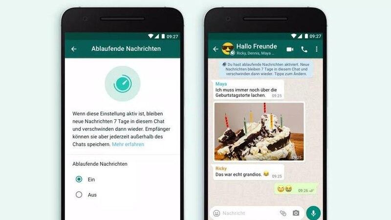 Bei WhatsApp gibt es nun ablaufende Nachrichten. Diese werden nach sieben Tagen automatisch gelöscht.