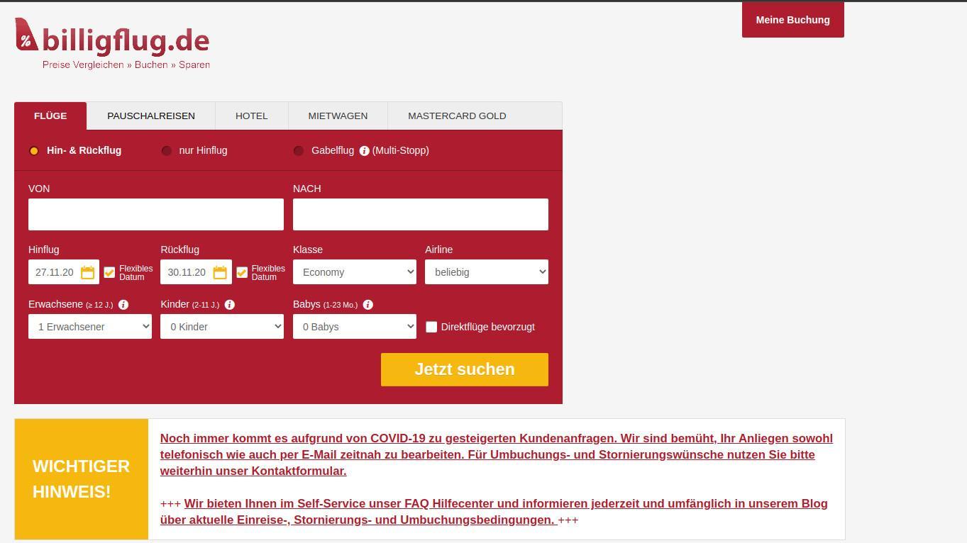 Wenn Sie Ihren Flug per Lastschrift buchen wollen, dies jedoch über die Airline nicht möglich ist, können Sie ein Online-Reisebüro wie Billigflug nutzen.