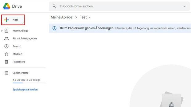 Wenn Sie bei Google Drive einen Ordner anlegen wollen, klicken Sie zuerst auf