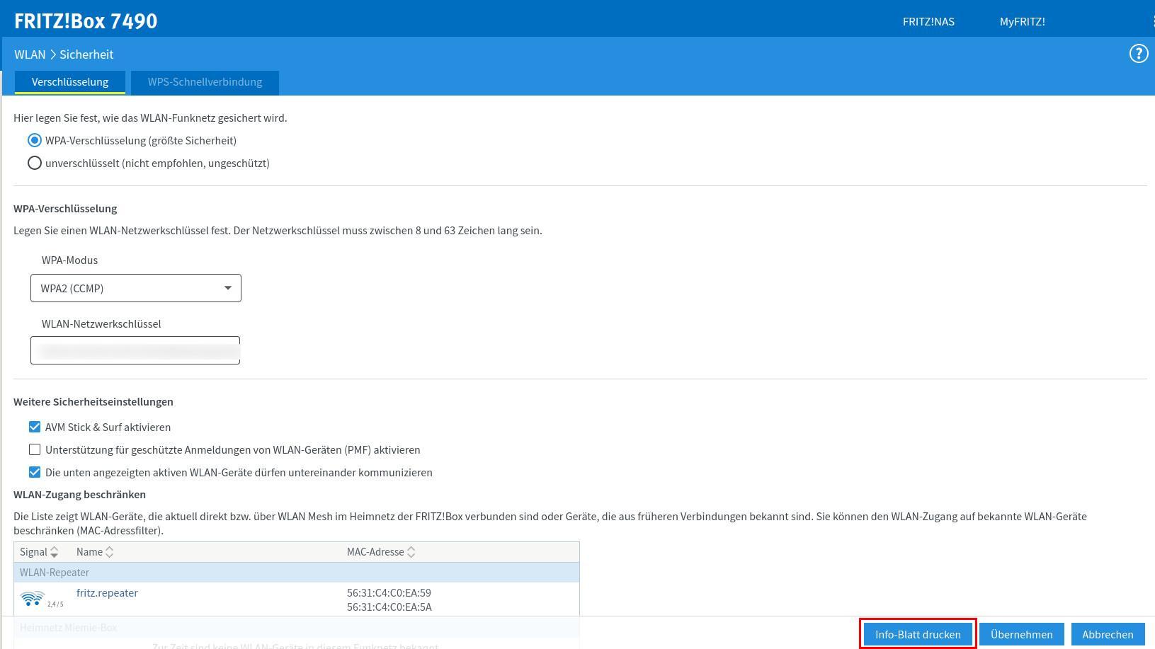 Mit der FritzBox! können Sie den QR-Code auch direkt über die Benutzeroberfläche einsehen.