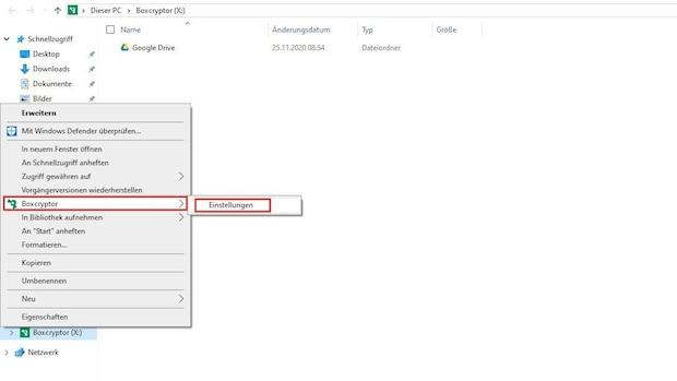 Wenn Sie Google Drive verschlüsseln wollen, können Sie dafür Boxcryptor verwenden. Um Google Drive damit zu verbinden, klicken Sie mit der rechten Maustaste auf das Laufwerk und wählen