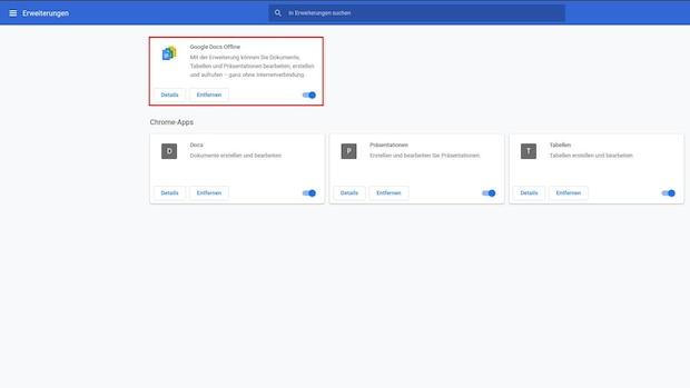 Wenn Sie Google Docs offline nutzen wollen, müssen Sie zuerst die entsprechende Erweiterung herunterladen und aktivieren.