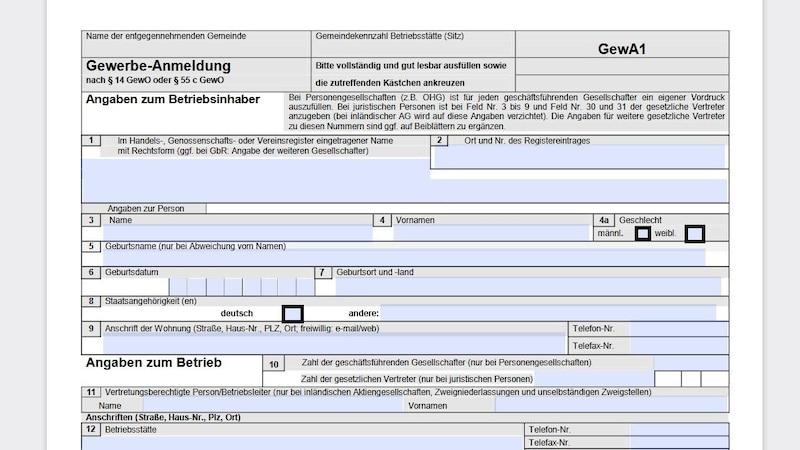 Wenn Sie einen Nebenerwerb anmelden, müssen Sie das Formular zur Gewerbe-Anmeldung beim Gewerbeamt einreichen.