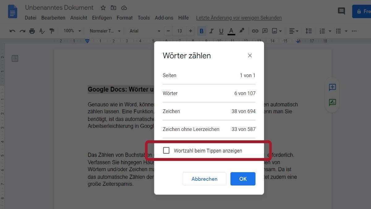 Word Count in Google Docs aktivieren