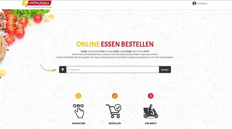 Auch online-pizza.de bietet eine breite Auswahl an Lieferdiensten an. Eine Suchmaske wie bei Lieferando fehlt jedoch.