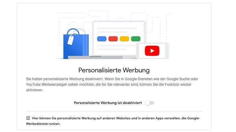 Personalisierte Werbung von Google deaktivieren