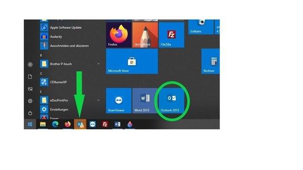 Um eine E-Mail aus Outlook zu drucken, öffnen Sie das Programm über die Menüleiste oder den Explorer.