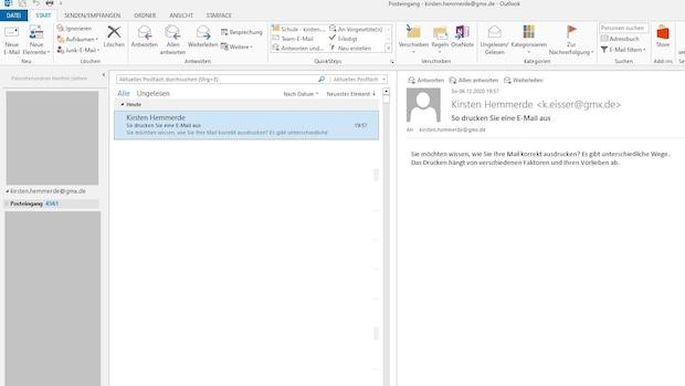Die ausgewählte Mail erscheint nach dem Mausklick mit blauem Hintergrund.