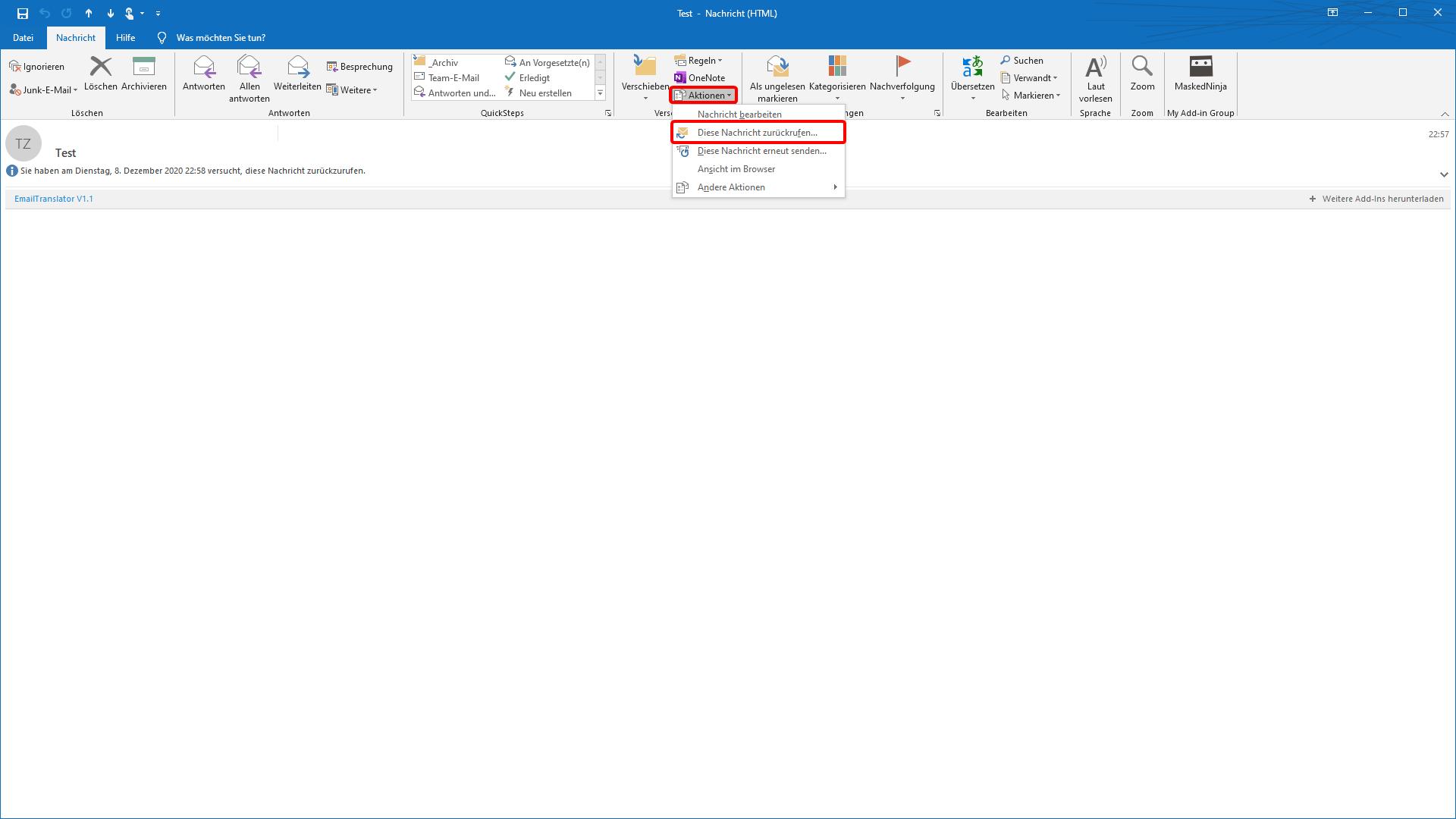 So rufen Sie eine Mail in Outlook zurück